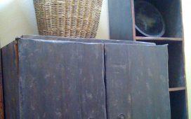 Beth Ayer Design uses vintage grape basket with repurposed cabinet for LA Loft