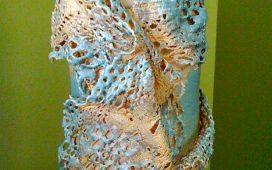 Beth Ayer Design-handmade lace draped vase